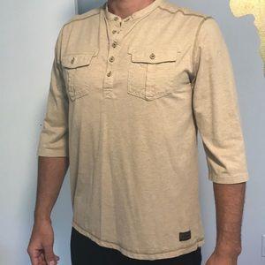 Sean John Tan button shirt quater length sleeves